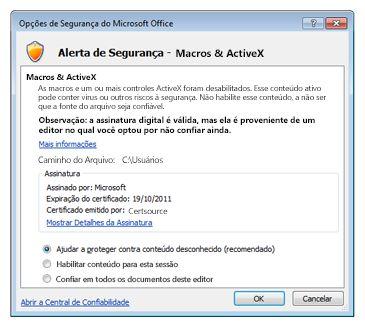 Caixa de diálogo Opções de Segurança, confiar em um fornecedor