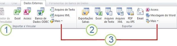 imagem da faixa de opções do access