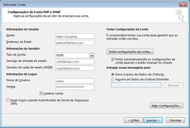 Caixa de diálogo Configurar conta manual