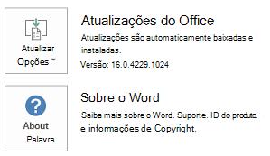 Quando o Office foi instalado usando a tecnologia Clique para Executar, as informações de aplicativos e atualizações terão a seguinte aparência.