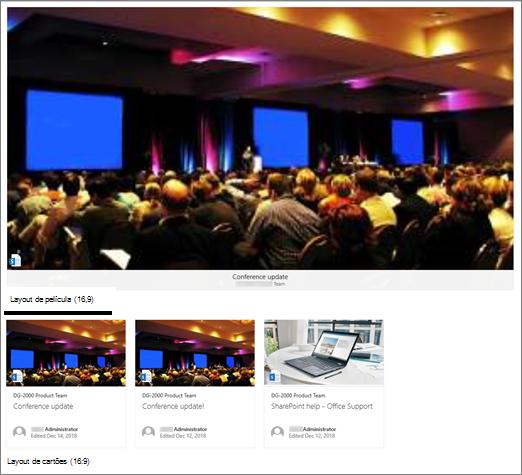 Exemplos de imagem de Web Part de conteúdo realçado
