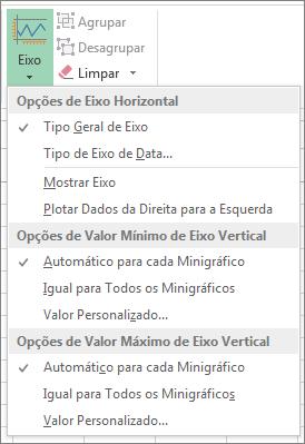 botão eixo na guia design das ferramentas de minigráfico