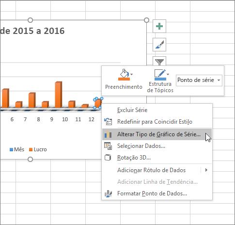 Clique com botão direito do mouse em um gráfico e veja as opções de formatação