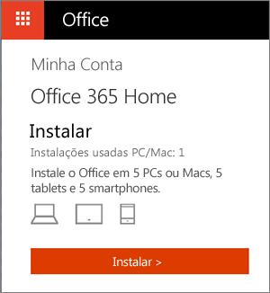 Página Minhas Contas da Office Store mostrando o botão Instalar
