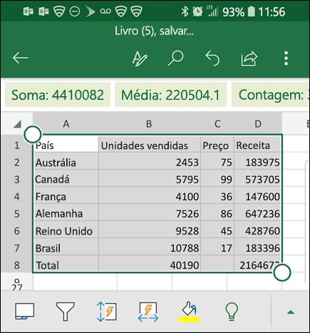 O Excel converteu seus dados e os retorna para a grade.