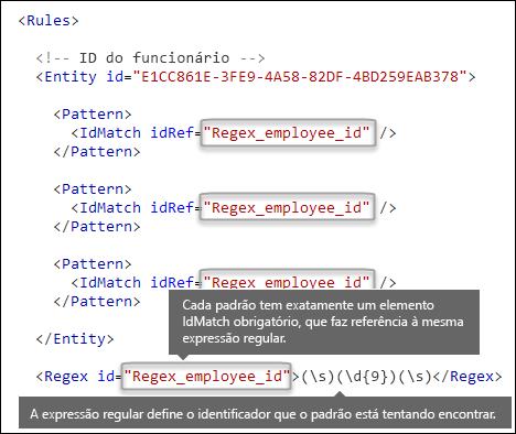 Marcação XML mostrando vários elementos Pattern fazendo referência a um único elemento Regex