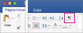 Na guia Página Inicial, a opção Mostrar Marcas de Edição está realçada