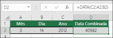 Função DATA Exemplo 1