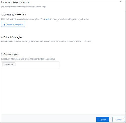 Captura de tela: Adicionar usuários em massa para Kaizala