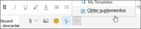 Uma captura de tela do botão Obter complementos