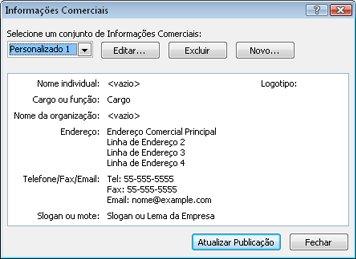 Editar um conjunto de informações comerciais no Publisher 2010