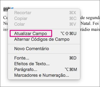 A opção Atualizar Campos é realçada no menu.