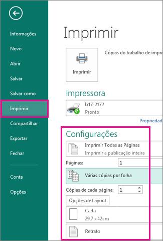Clique em Arquivo, Imprimir para exibir as configurações de impressão do Publisher 2013