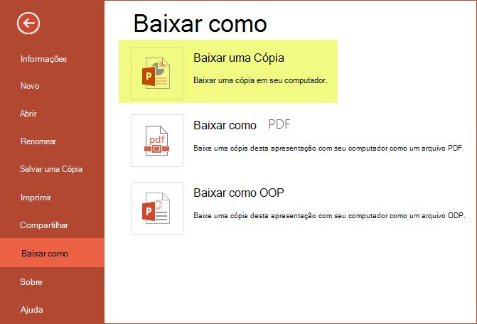 Usar o download de uma cópia para salvar a apresentação no seu computador