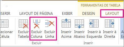 Imagem de comandos Excluir Tabela e Excluir Linha na faixa de opções de Layout de Ferramentas da Tabela