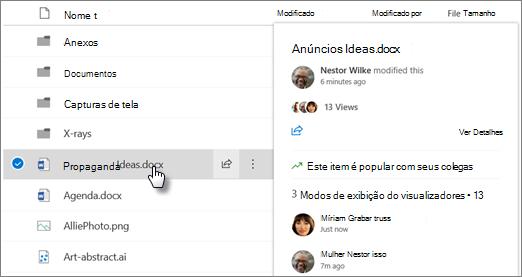 Captura de tela do cartão de foco de arquivo exibido quando você aponta para um arquivo no OneDrive ou no SharePoint