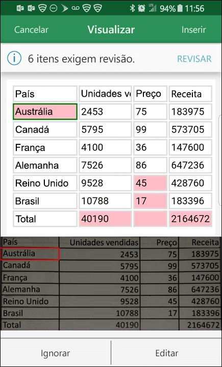 A importação de dados da imagem no Excel oferece a capacidade de corrigir problemas encontrados ao converter dados.