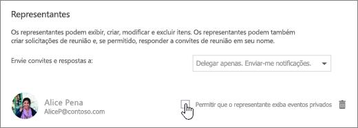 Captura de tela da caixa de seleção Permitir que o representante exiba eventos particulares.