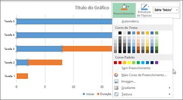 gráfico de barras 2D empilhadas