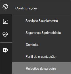"""Captura de tela do menu configurações com """"Relações de parceiro"""" realçado"""