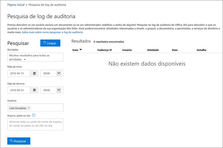 Relatório de atividade do Office 365 mostrando todas as atividades de um Parceiro Extranet