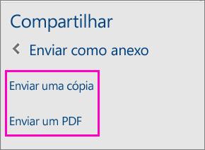 Imagem das duas opções no Painel de Compartilhamento para enviar um documento como uma cópia ou como um PDF