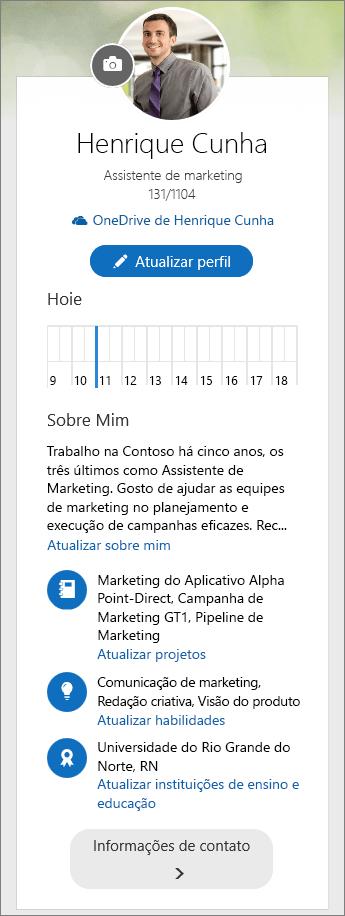 Captura de tela do conteúdo padrão da área Sobre mim do menu de controle do Delve.