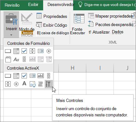 Controles ActiveX na faixa de opções