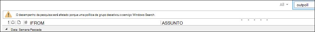 Aviso de pesquisa do Outlook