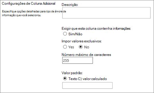 Opções de linha única de coluna de texto
