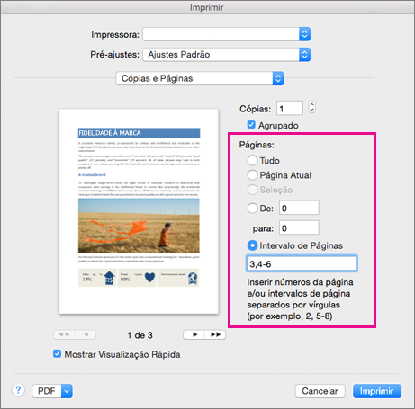 Caixa de diálogo Imprimir com a seção Páginas realçada