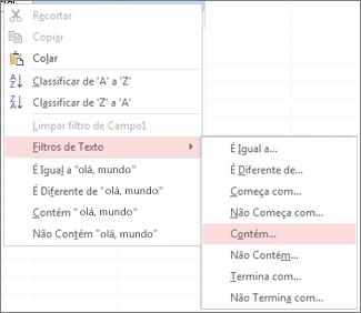 Menu contextual mostrando as opções de filtragem de texto