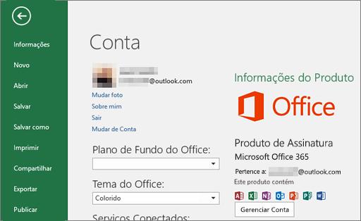 A conta da Microsoft associada ao Office é exibida na janela Conta de um aplicativo do Office