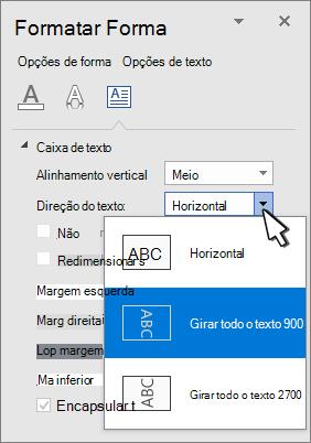 Painel efeitos de texto com a direção do texto selecionada