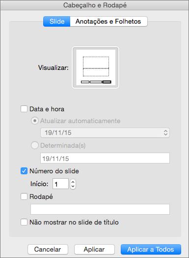 Mostra a caixa de diálogo Cabeçalho e Rodapé no PowerPoint 2016 para Mac