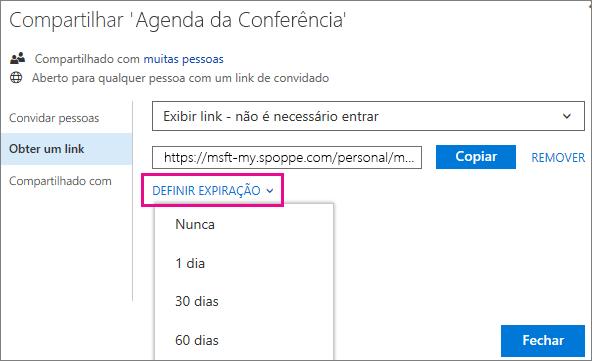 Captura de tela sobre a Configuração de uma Expiração de um link de convidado