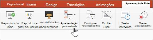 Botão de apresentação personalizada de reprodução