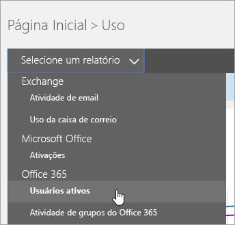 """Em """"Selecione um menu suspenso de relatórios"""", clique em """"Usuários ativos"""""""