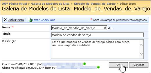 Caixa de diálogo edição de modelo de lista