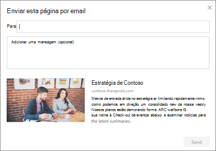 Enviar por caixa de diálogo de email