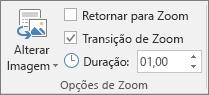 Mostra o grupo de opções de zoom na guia Formatar para uma seção ou Zoom de Slide no PowerPoint.
