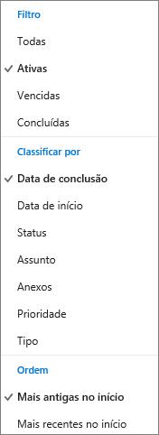 Escolha como filtrar, classificar e ordenar tarefas na lista de Tarefas do Outlook.com
