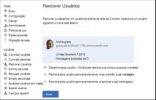 Captura de tela mostrando como desativar um usuário no Yammer.
