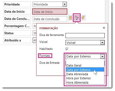 Imagem do menu Formatação em um Access app.