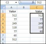valores únicos do intervalo na coluna a