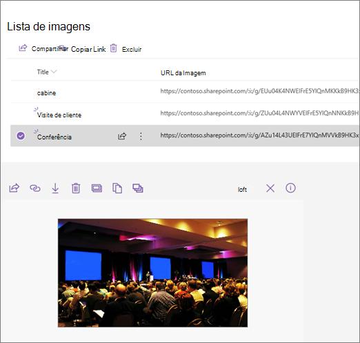 Exemplo de uma Web Part de inserção conectada a uma lista de imagens