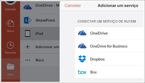 Captura de tela da adição de um local no PowerPoint para iPad.