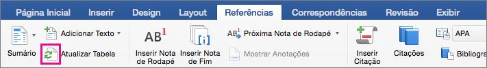 Na guia Referências, clique em Atualizar Tabela para atualizar o sumário de um documento.