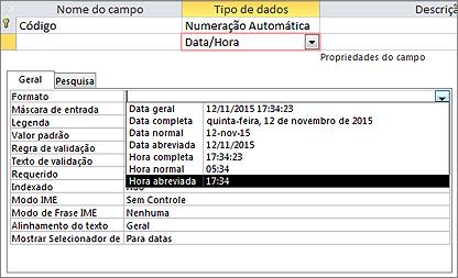 A propriedade Formato de um campo Data/Hora