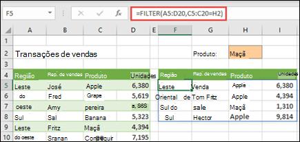 Função FILTER em Excel para a Web